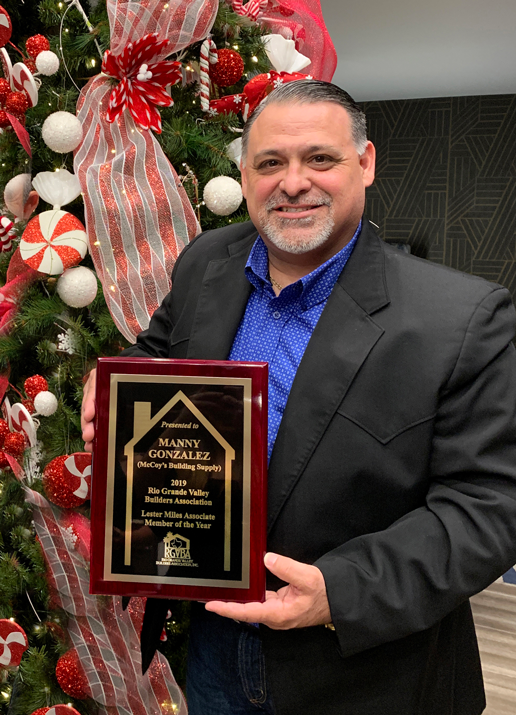 Manny Gonzalez, rgv, rgvba, rio grande valley builders association, Lester miles, associate member of the year, rgv blog, rgv real estate, McCoy's building supply