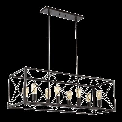 "39"" 8-Light LED Adjustable Iron Farmhouse Pendant Oil Rubbed Bronze - $245.99"