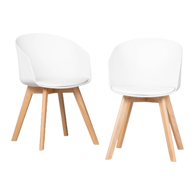 Set of 2 Flam Dining Chairs with Wooden Legs - $249.99