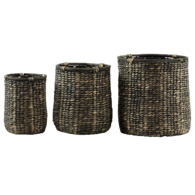 Set of 3 Woven Seagrass Basket Planters Black - $160.99